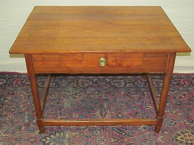 18Th Century Walnut Pa Queen Anne Period Tavern Table With H Stretcher Base