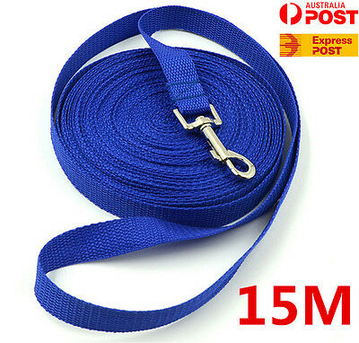 Blue 15m Long Dog Pet Puppy Leash Obedience Recall Training Lead Leash Rope