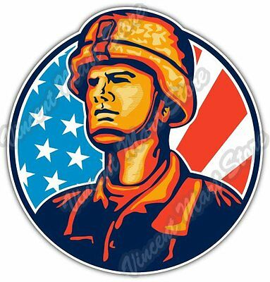 American Soldier Military Army Veteran USA Car Bumper Vinyl Sticker Decal 4.6""