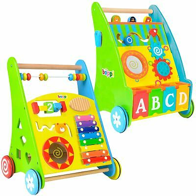 boppi® Wooden Activity Stroller Push Along Toddler Baby Walker With Accessories