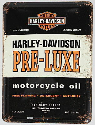 Licenced Harley Davidson Pre-Luxe Motorcycle Oil Metal Postcard
