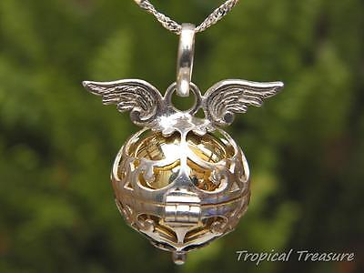 18mm Angel Wings Harmony Ball Pendant + 925 SOLID Silver Singapore Chain