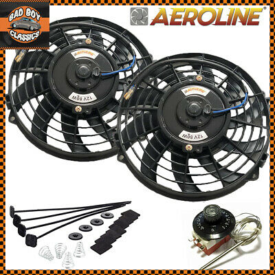 "9"" AeroLine 12v Electric Radiator / Intercooler Fans + Capillary Thermostat x2"