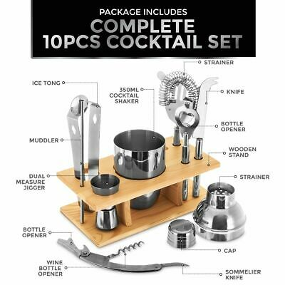 10 Pc COCKTAIL SHAKER BAR JIGGER STRAINER SET W STAND DRINK MOCKTAIL WINE PARTY