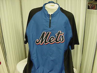 MLB New York Mets Game Worn Bullpen/Dugout Pullover Short Sleeve Jacket Size LG