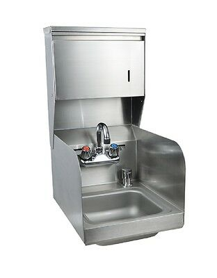"""9"""" x 9"""" Stainless Steel Space Saver Hand Sink w Faucet BK-BKHS-W-SS-SS-TD-P-G"""