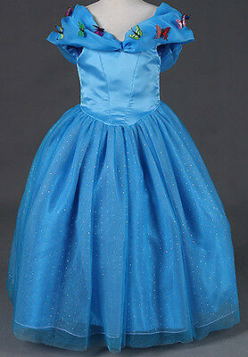 Girls Cinderella Princess Dress Fashion Party Wedding Bridesmaid Kids Costume