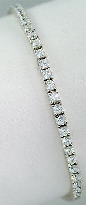 5.7 ct tw Solid Silver Bracelet Top Russian CZ Moissanite Simulant   7 inch