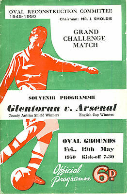Glentoran v. Arsenal 19/5/1950 Friendly including 2 newspaper cuttings