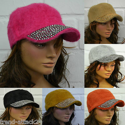 Luxury Angora Peaked Cap Cap Rhinestone Applications Rivets Rhinestones