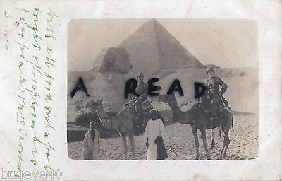 Group of British soldiers on camels in front of the Sphinx & Pyramids Egypt 1910