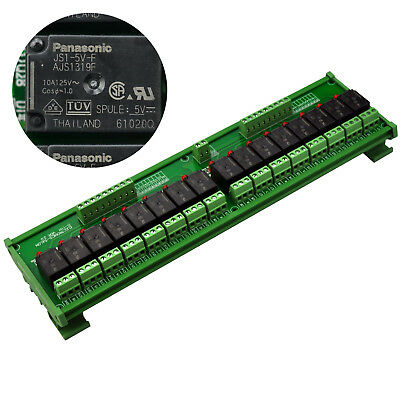 DIN Rail Mount 16 SPDT 10A Power Relay Interface Module, OMRON Relay 5V Coil.