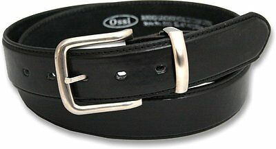 Mens Black Bonded Leather Belt with Silver Buckle 40mm Width