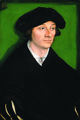 Oil lucas cranach the elder - German young man wearing black cloth and hat art
