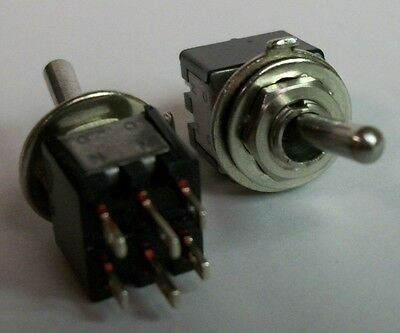 Lot of 2 - Sub-Miniature DPDT On-On Toggle Switch - 3A@125V