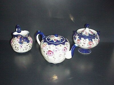 Antique Cobalt Blue Tea Set Tea Pot Sugar & Creamer Hand Painted Flowers