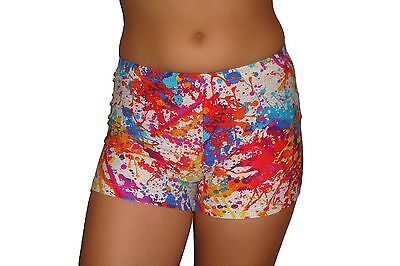 Red Monkey Gear spandex shorts metallic white splatter