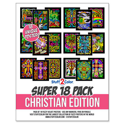 Super Pack of 18 Fuzzy Velvet 8x10 Inch Posters (Christian Edition) Stuff2Color