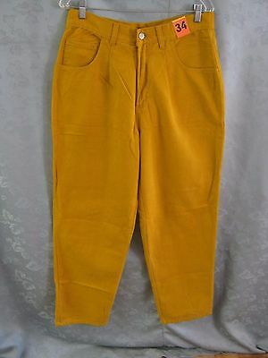 Vintage 80's Modern Boy Pleated Jeans Size 34 X 31 NWT Mustard Color