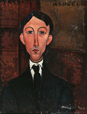 Oil painting amedeo modigliani - Bust of Manuel Humbert Male portrait figure