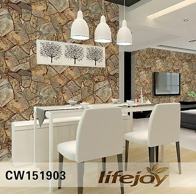 10M 3D Rustic Stone Slate Sand Looking Brown Realistic Impressions Wallpaper 903