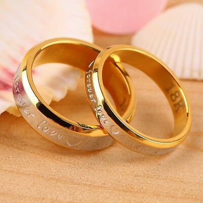 Free Engraving 18K Rose Gold 2 PCS Forever Love Couple Promise Wedding Ring Set