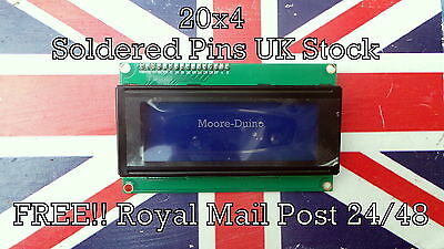 Soldered Pins 2004 20X4 Character LCD Module Display Blue For Arduino UK New