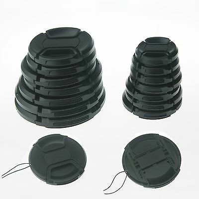 10PCS 46mm Center-Pinch Snap-On Front Lens Cap with Cord for Cameras