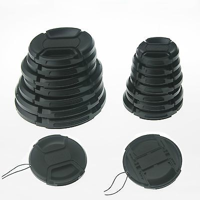 10PCS 62mm Center-Pinch Snap-On Front Lens Cap with Cord for Cameras