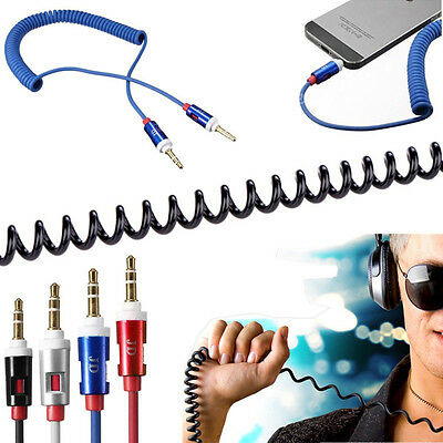 3.5mm Spiral Audio kabel Klinke auf Klinke Stereo Aux Auxiliary Kabel Handy MP3