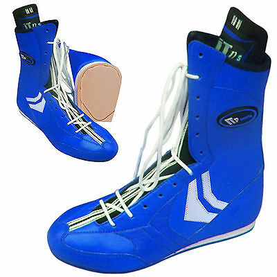 ZstarAX Leather Boxing Boots Boxing Shoes Light Weight Rubber Sole New Blue