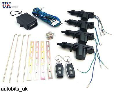 4 Door Universal Car Security Remote Central Locking Kit + 2 Remotes Fobs Keys