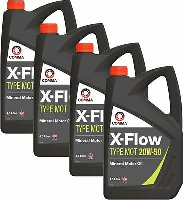 4 X Comma X-Flow Type Mot 20W-50 Motorway Mineral Motor / Engine Oil Mot1G 4.5L