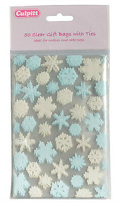 Pack of 50 SNOWFLAKE cellophane cello Favour Gift Party bags & Silver Ties 4x6""