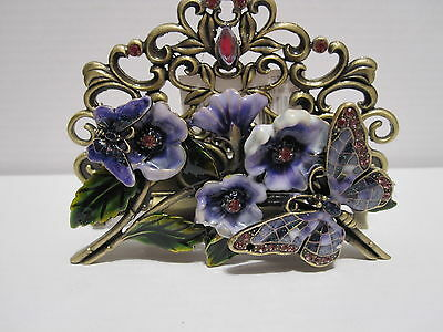 2 Butterfly Purple  Jeweled Flowered Desktop Business Card Holder Stand