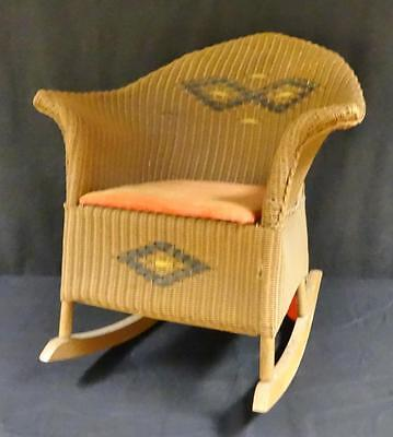 Amazing vintage Victorian wicker / rattan miniature rocking dolls chair!