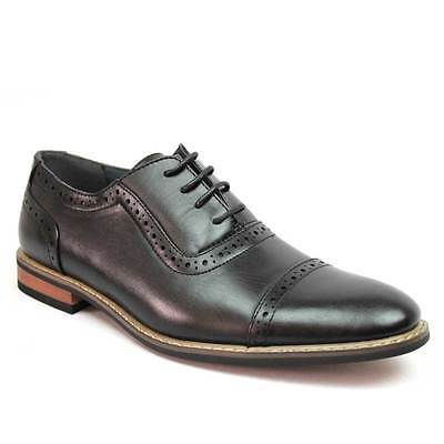 New Men's Black Dress Shoes Cap Toe Lace Up Oxfords Leather Lining Parrazo