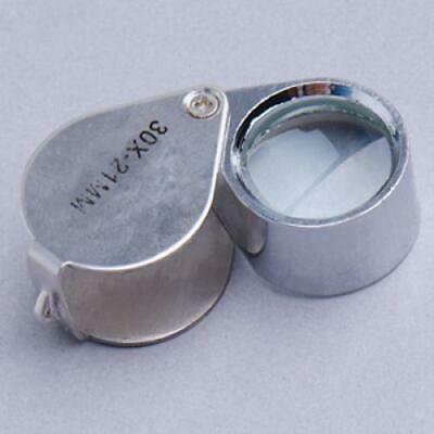 Folding Jewelers Loupe 30 x 21mm Eye Magnifying Glass Lens Magnifier with Case