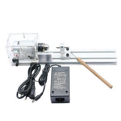 Mini Lathe Beads Machine Woodworking DIY Lathe Standard Set with Power DC 24V