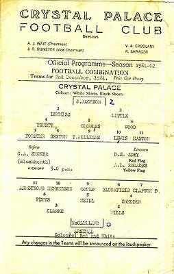 Crystal Palace Reserves v. Arsenal Reserves 2/12/1961