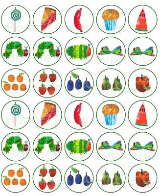 30  X Hungry Caterpillar edible cupcake cup cake toppers Party Edible Image