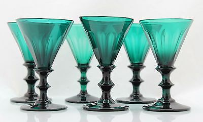 6x antique, early 19th C White Wine Glass, blue/green crystal, 1800-1820 Holland