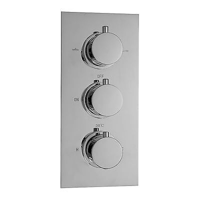ENKI Concealed Thermostatic Shower Valve Mixer Tap Round 3 Dial 2 Way