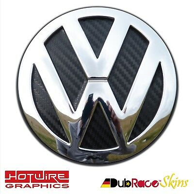 VW GOLF MK4 MK5 MK6 Black Carbon Fibre - REAR Badge Inserts. GTI R32 TDI Dubrace