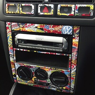 VW GOLF & BORA MK4 Stickerbomb Centre Dash Skin Sticker Kit. Rat Look R32 GTI TD