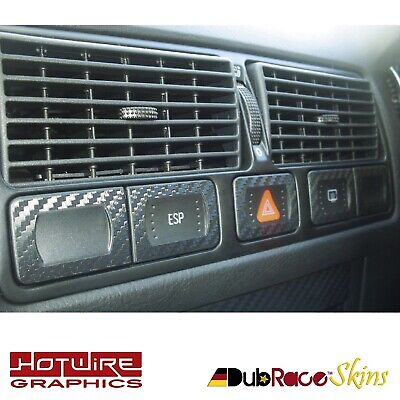 VW GOLF BORA MK4 Carbon Fibre Vinyl Dash Button Interior Trim Set (All Models)