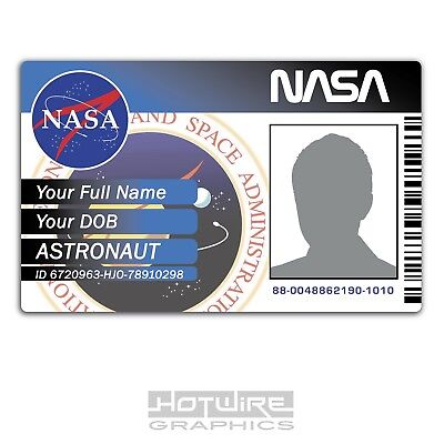 PERSONALISED Printed Novelty ID- Space Exploration NASA Card Pass - Funny Sci-Fi