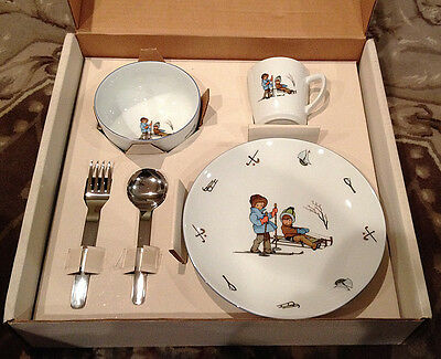 Childs Pier 1 Ceramic 5-pc Dinnerwear Set Winter Plate Bowl Cup Germany 1993 NEW