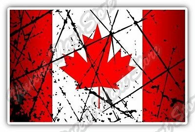 "Canada Country Flag Grunge Retro Car Bumper Window Vinyl Sticker Decal 5""X3.5"""