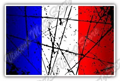 "France Country Flag Grunge Retro Car Bumper Window Vinyl Sticker Decal 5""X3.5"""